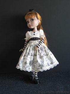 "Patience Tonner 14"" BJD OOAK Black Cream Toile Dress Set Handmade by JEC | eBay"