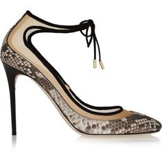 Jimmy Choo - Tyler Suede-trimmed Python And Mesh Pumps