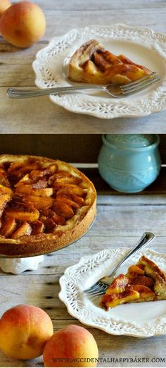 Fresh Peach Kuchen  Deliciously dense and cakey crust topped with fresh, sweet peaches and cinnamon sugar.