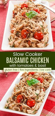 Jul 2019 - Slow Cooker Balsamic Chicken with Tomatoes and Basil - a healthy and easy pulled chicken dinner recipe from your crockpot. Serve over pasta or rice, or keep it gluten free, low carb, and paleo with cauliflower rice or zoodles. Low Carb Crockpot Chicken, Slow Cooker Balsamic Chicken, Healthy Crockpot Recipes, Slow Cooker Recipes, Healthy Chicken, Chicken Cooker, Healthy Steak, Dinner Crockpot, Crockpot Meals