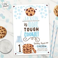 One Tough Cookie Birthday Invitation, Digital File, Printable, Cookie Party Invitation, Cookies and Milk Birthday - Dilara Baby Boy 1st Birthday Party, First Birthday Themes, First Birthdays, Birthday Ideas, Wild One Birthday Invitations, Birthday Cookies, Package Deal, Party Package, Etsy