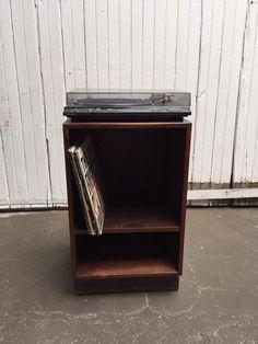 Vintage danish mid century record console side by VintaDelphia