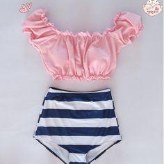 womens girls cute HIGH WAIST Swimsuits Vintage bathing suit crop top swimwear crop Halter Push Up tankini moda praia