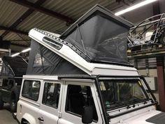 X-Vision-X - panoramic roof including roof rack Land Rover Defender Camping, Defender Camper, Land Rover Defender 110, Jeep Wrangler Camping, Jeep Camping, Pop Top Camper, Truck Camper, Tenda Jeep, Toyota Dyna