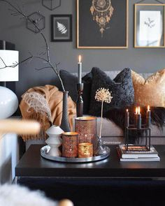 room decor Feeling very by this black, gray and gold Great design an. Feeling very by this black, gray and gold Great design and for the season. Living Room Decor Cozy, Home Living Room, Bedroom Decor, Decor Room, Copper Living Room Decor, Living Room Candles, Home Interior, Interior Design Living Room, Living Room Designs