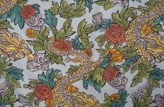 ROBERT ALLEN Upholstery Fabric MING DRAGON Aquatint Asian 17.375 yds DX14 #RobertAllen
