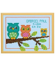 Dimensions Little Pond Birth Record - Cross Stitch Kit. Complete kit includes pre-sorted cotton thread, 14 ct Lt Blue Cotton Aida, needle, and easy instructions Cross Stitch Owl, Cross Stitch Fabric, Counted Cross Stitch Kits, Cross Stitch Designs, Cross Stitch Embroidery, Cross Stitch Patterns, Owl Patterns, Needlepoint Patterns, Crafts