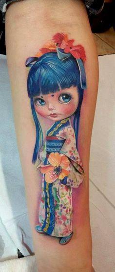 Baby Tattoos, Girly Tattoos, Hot Tattoos, Disney Tattoos, Body Art Tattoos, Tattos, Geisha, Kokeshi Tattoo, Doll Tattoo