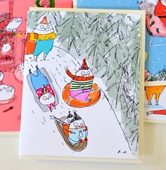 Sledding Party- Christmas Cat Card- Winter Holiday