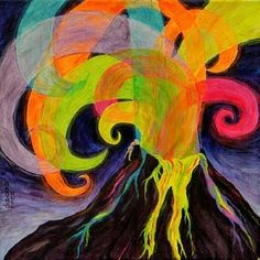 The-Magical-Volcano_art.jpg color mixing fun with the overlapping sprays? Volcano Projects, Weather Art, 3rd Grade Art, Ecole Art, Science Art, Science Nature, School Art Projects, Art Classroom, Art Club
