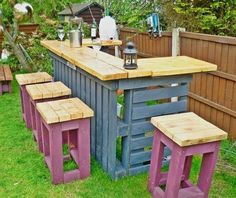 Having a recycled Pallet Patio Bar plans is less complicated than you observed, however if you want a completely unique one, DIY may be pretty important. Pallet Patio Furniture, Garden Furniture, Outdoor Furniture Sets, Diy Furniture, Outdoor Decor, Outdoor Pallet, Outdoor Chairs, Bar En Palette, Palette Diy