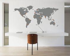 Muursticker Wereldkaart met Pin Points - Muurstickers - Geboortestickers - Interieurstickers - Walldesign56