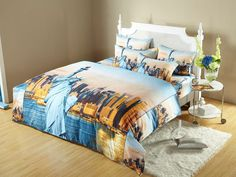 Statue of Liberty NYC Themed Bedding KING,Full/Queen or XL Twin DM492 Dolce Mela City Skyline Duvet Cover Set @ www.designedtoinspirebedding.com