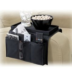 6 Pocket Sofa Couch Arm Rest Organizer with Table-Top Black