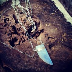 Rainbow Moonstone Horn and Triple Sterling Silver Chain Necklace