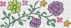 PONTO CRUZ DA LZ: flores Cross Stitch Flowers, Cross Stitch Patterns, Stitch 2, Floral Border, Blackwork, Art Girl, Crafty, Canvases, Embroidery
