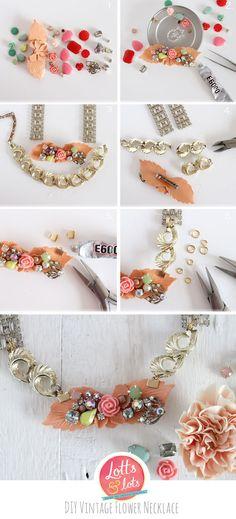 DIY - vintage diamante and flower necklace