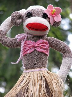Hawaiian Sock Monkey Girl! <3