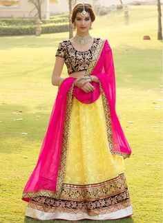 Hot Pink and Yellow Bridal Lehenga Choli
