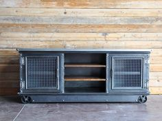 Custom Ellis Console, stainless top, woven mesh doors, factory casters, by Vintage Industrial Furniture