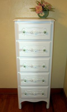 White Vintage French Provincial Petite Lingerie Chest