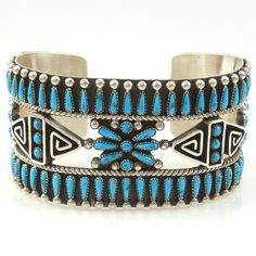 Turquoise Petit Point Cuff by Billy Betoney - Garland's Indian Jewelry
