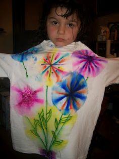Gia's flower Bouquet Tshirt using Sharpie Marker Tye Dye.