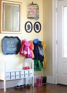 I have all these elements. tell me why my kid's coat rack/bench doesn't look like this. Kids Coat Rack, Coat Rack Bench, Wooden Owl, Bird Cage, Home Decor Inspiration, Mudroom, Home Projects, Craft Projects, Small Spaces