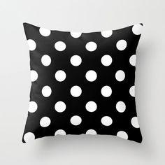 Velveteen Black and White Polka Dot Pillow -  Black and White Pillow - Housewares - Home Decor - Girls Bedding - Teen Room Decor
