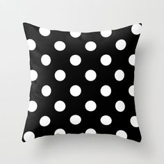 Velveteen Black and White Polka Dot Pillow -  Black and White Pillow - Housewares - Home Decor - Girls Bedding - Teen Room Decor