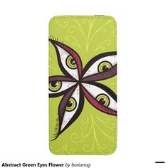 Abstract Green Eyes Flower iPhone 5 Pouch