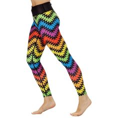 Visit Tikiboo Online And Shop For Our Vibrant And Playful Rainbow Zigzag Leggings, Part Of Our Rainbow Gym Wear Collection. Running Shorts, Workout Tops, Workout Leggings, Women's Leggings, Compression Vest, Mens Measurements, Rainbow Print, Small Waist, Gym Wear