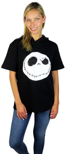 Disney Nightmare Before Christmas Short Sleeve Lounge Hoodie Black ** This is an Amazon Affiliate link. Click image to review more details.