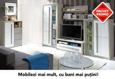 PACHET PROMO LIVING + COMODA ROMA A - ACAJU.RO Flat Screen, The Unit, Modern, Furniture, Home Decor, Blood Plasma, Trendy Tree, Decoration Home, Room Decor