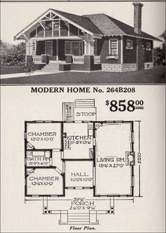Sears, Roebuck Bungalow House Plan   Modern Home No. 264B208   Hipped Roof  Craftsman