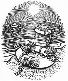 Moola by Mitch Frey, via Behance standard insurance, money, investment, retirement, savings, woodcut, linocut, scratchboard, ocean, sun, house, rope, car, asset management, financial planning, beach
