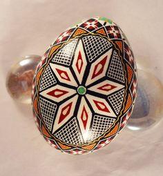 Turkey Pysanky Egg Pysanka Netted Star Etched by GoldenEggPysanky