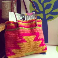 Contemporary crochet aztec bag - pattern by Steel&Stitch