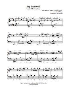 My Immortal by Evanescence Piano Sheet Music | Advanced Level