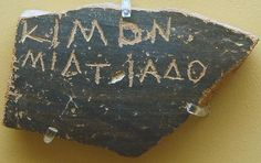 AGMA Ostrakon Cimon - Ancient Greek - Ostracon bearing the name of Cimon, 486 or 461 BC. Ancient Agora Museum in Athens. Athenian Democracy, Classical Athens, Classical Mythology, Mycenaean, Greek Culture, How To Make Notes, Ancient Greece, Archaeology, Pottery