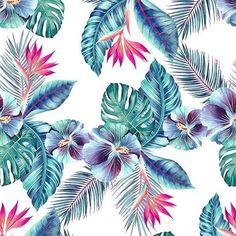 Magic Hawaii by Shock Pattern Design - Tropical plants in a large scale seamless pattern. Motif Tropical, Tropical Art, Tropical Pattern, Tropical Flowers, Tropical Print Fabric, Hawaii Pattern, Creative Studio, Motif Floral, Floral Prints