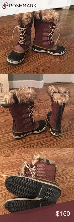 Sorel Joan of Arctic Boots In EXCELLENT condition. Worn them once to run an errand so basically brand new. These are waterproof winter boots that are Black and brown with faux fur. Very popular boot and perfect for this upcoming winter!! These boots Currently selling for $179.99 in stores. Firm on price since they are in perfect condition. Unfortunately, I threw out the sorel boot box when I bought them Sorel Shoes Winter & Rain Boots