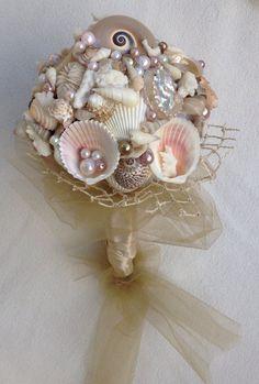 Nautical Wedding Bouquet Beach Bouquet Sea by BeachBasketBride, $80.00