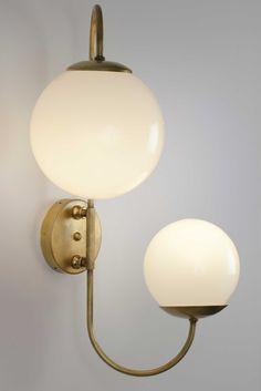 Aplique pared doble bola asimétrica opal