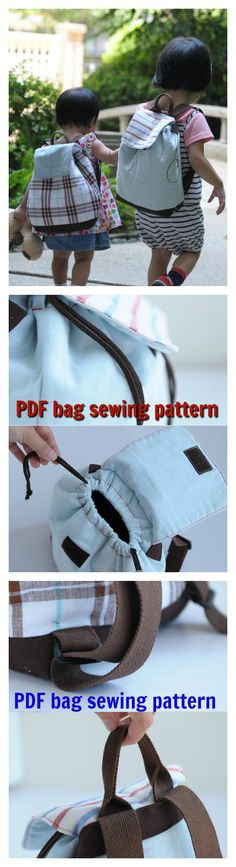 Download this easy to sew My Little Baby Children Backpack pdf sewing pattern.