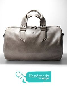 a1dcb5338b Grey Leather Duffle Bag by Capra Leather. Size  35 Liters. Personalized