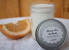 Grapefruit soy wax candle from HarmonyFarmCandles.etsy.com