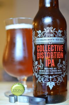 Stone Brewing Company Kyle Hollingsworth & Keri Kelli Collective Distortion IPA, 22 oz., 9.3% ABV. I wasn't able to get a bottle of the current Enjoy By IPA, so I went with this instead. Felt a little lost as to when I should drink it, though.