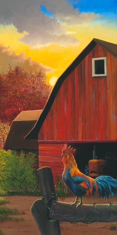 Red Barn Oil on Canvas