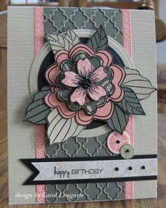 handmade card with a gorgeous layered flower in white, pink and gray ... flower layers are paper pieced and popped up on dimensionals, so this will be a card to present in person or its own box ... delightful!!